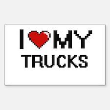 I Love My Trucks Digital Retro Design Decal