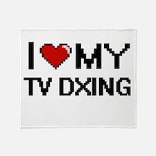 I Love My Tv Dxing Digital Retro Des Throw Blanket