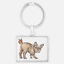 French bulldog & butterfly Landscape Keychain
