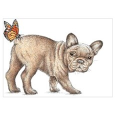 French bulldog & butterfly Poster