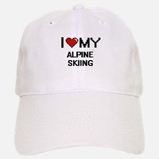 I Love My Alpine Skiing Digital Retro Design Baseball Baseball Cap