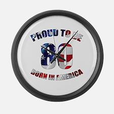American 80th Birthday Large Wall Clock