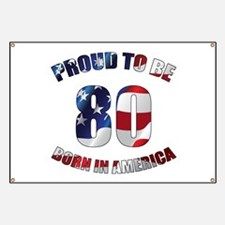 American 80th Birthday Banner