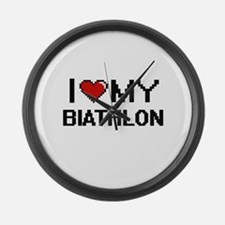 I Love My Biathlon Digital Retro Large Wall Clock