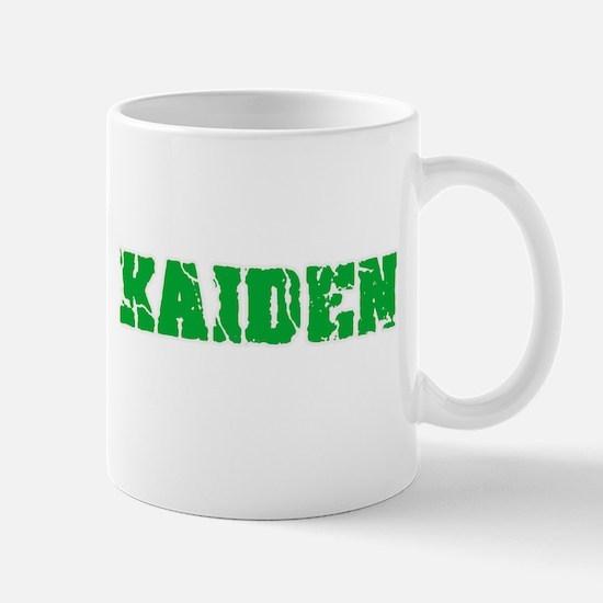 Kaiden Name Weathered Green Design Mugs