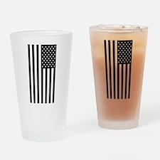 U.S. Flag: Black, Up & Down Drinking Glass