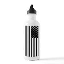 U.S. Flag: Black, Up & Down Water Bottle
