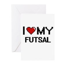 I Love My Futsal Digital Retro Desi Greeting Cards