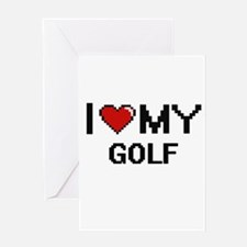 I Love My Golf Digital Retro Design Greeting Cards