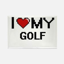 I Love My Golf Digital Retro Design Magnets