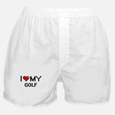 I Love My Golf Digital Retro Design Boxer Shorts