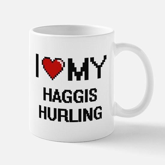 I Love My Haggis Hurling Digital Retro Design Mugs