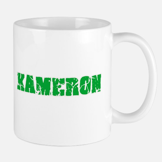 Kameron Name Weathered Green Design Mugs
