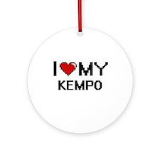 I Love My Kempo Digital Retro Desig Round Ornament