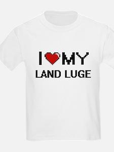 I Love My Land Luge Digital Retro Design T-Shirt