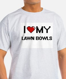 I Love My Lawn Bowls Digital Retro Design T-Shirt