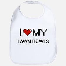 I Love My Lawn Bowls Digital Retro Design Bib