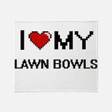 I Love My Lawn Bowls Digital Retro D Throw Blanket