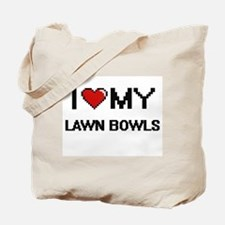 I Love My Lawn Bowls Digital Retro Design Tote Bag