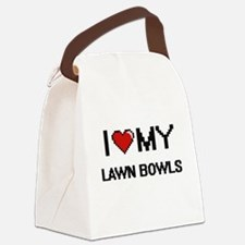I Love My Lawn Bowls Digital Retr Canvas Lunch Bag