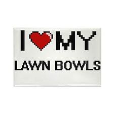 I Love My Lawn Bowls Digital Retro Design Magnets