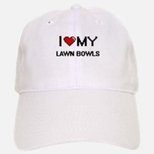 I Love My Lawn Bowls Digital Retro Design Baseball Baseball Cap