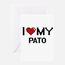 I Love My Pato Digital Retro Design Greeting Cards