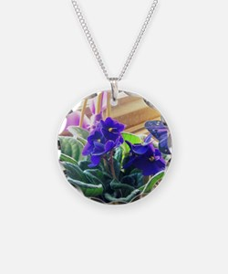 Purple Violet Basket  Necklace