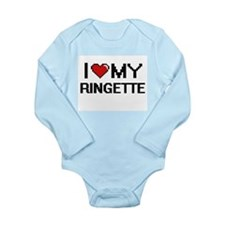 I Love My Ringette Digital Retro Design Body Suit