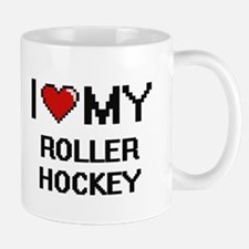 I Love My Roller Hockey Digital Retro Design Mugs