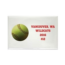 Yellow Softball Team Design Magnets