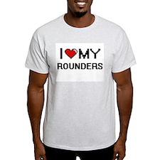 I Love My Rounders Digital Retro Design T-Shirt