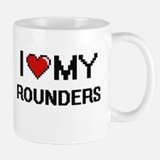 I Love My Rounders Digital Retro Design Mugs