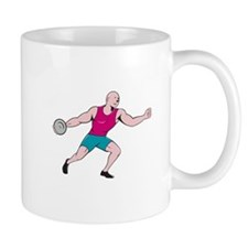 Discus Thrower Side Isolated Cartoon Mugs