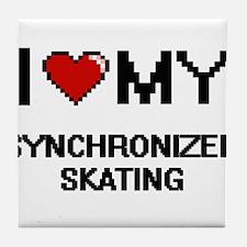 I Love My Synchronized Skating Digita Tile Coaster