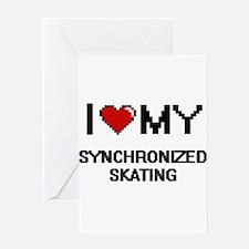I Love My Synchronized Skating Digi Greeting Cards