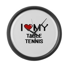 I Love My Table Tennis Digital Re Large Wall Clock