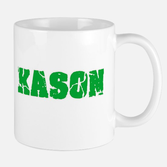 Kason Name Weathered Green Design Mugs