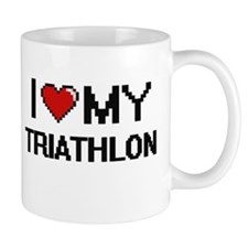 I Love My Triathlon Digital Retro Design Mugs
