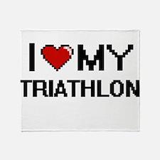 I Love My Triathlon Digital Retro De Throw Blanket