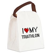 I Love My Triathlon Digital Retro Canvas Lunch Bag