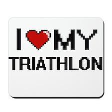 I Love My Triathlon Digital Retro Design Mousepad