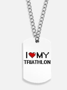 I Love My Triathlon Digital Retro Design Dog Tags