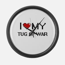 I Love My Tug Of War Digital Retr Large Wall Clock