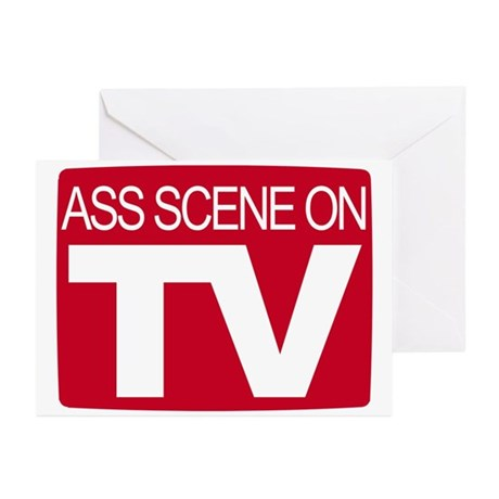 Ass Scene On TV Greeting Cards (Pk of 20)