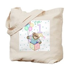 Teddy in Box First Birthday Tote Bag