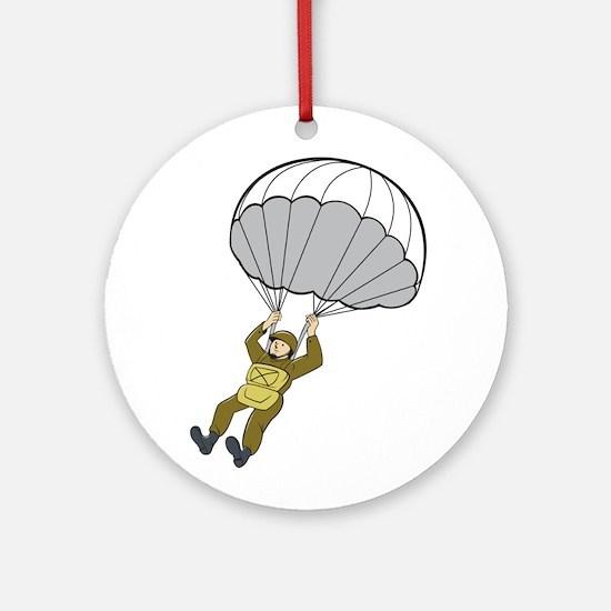 American Paratrooper Parachute Cartoon Round Ornam