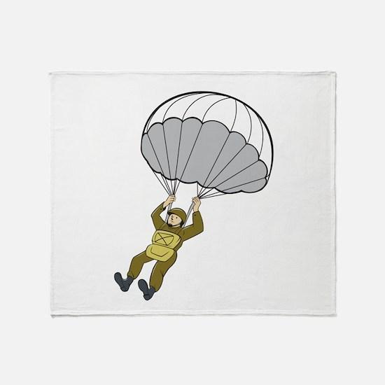 American Paratrooper Parachute Cartoon Throw Blank