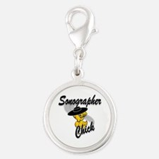Sonographer Chick #4 Silver Round Charm