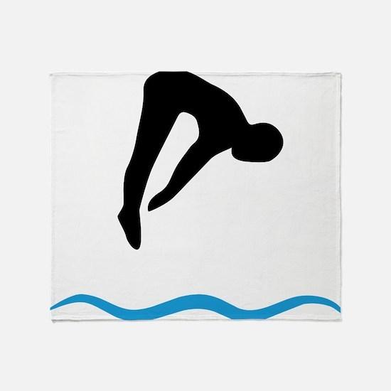 Cute Springboard diving Throw Blanket